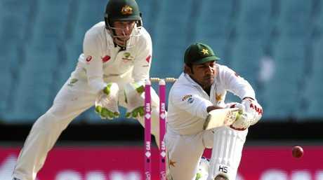 Peter Handscomb keeps wickets behind Pakistan's Sarfraz Ahmed in January.