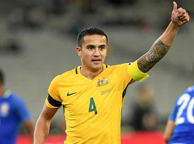 Tim Cahill of the Socceroos gives the thumbs up during the international friendly against Brazil at the MCG.
