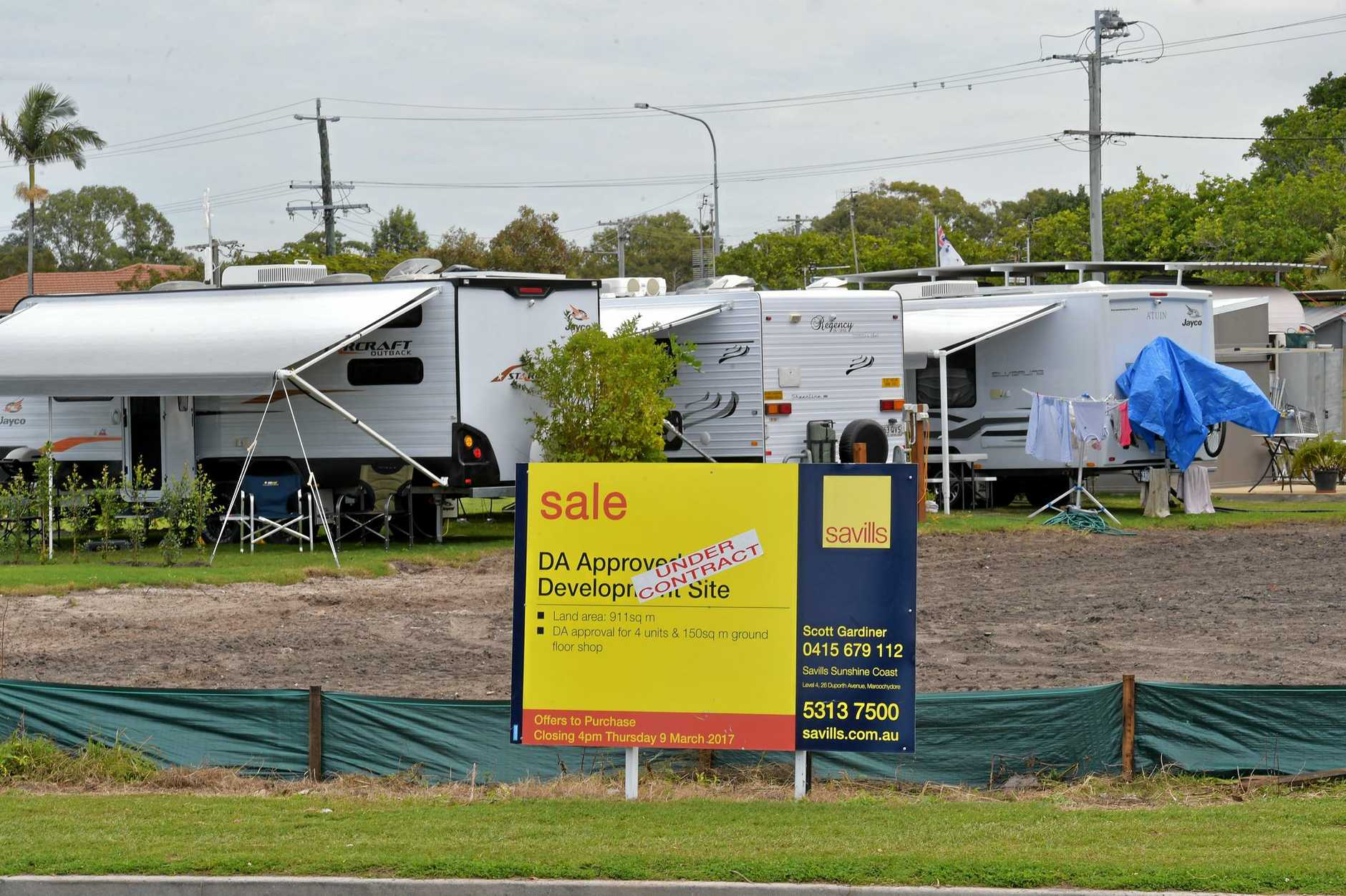 The Military Caravan park is for sale.