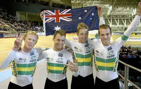 Stephen Wooldridge (right) with Peter Dawson, Luke Roberts and Ashley Hutchinson after winning the gold medal during the 2004 UCI Track Cycling World Championships in Melbourne.