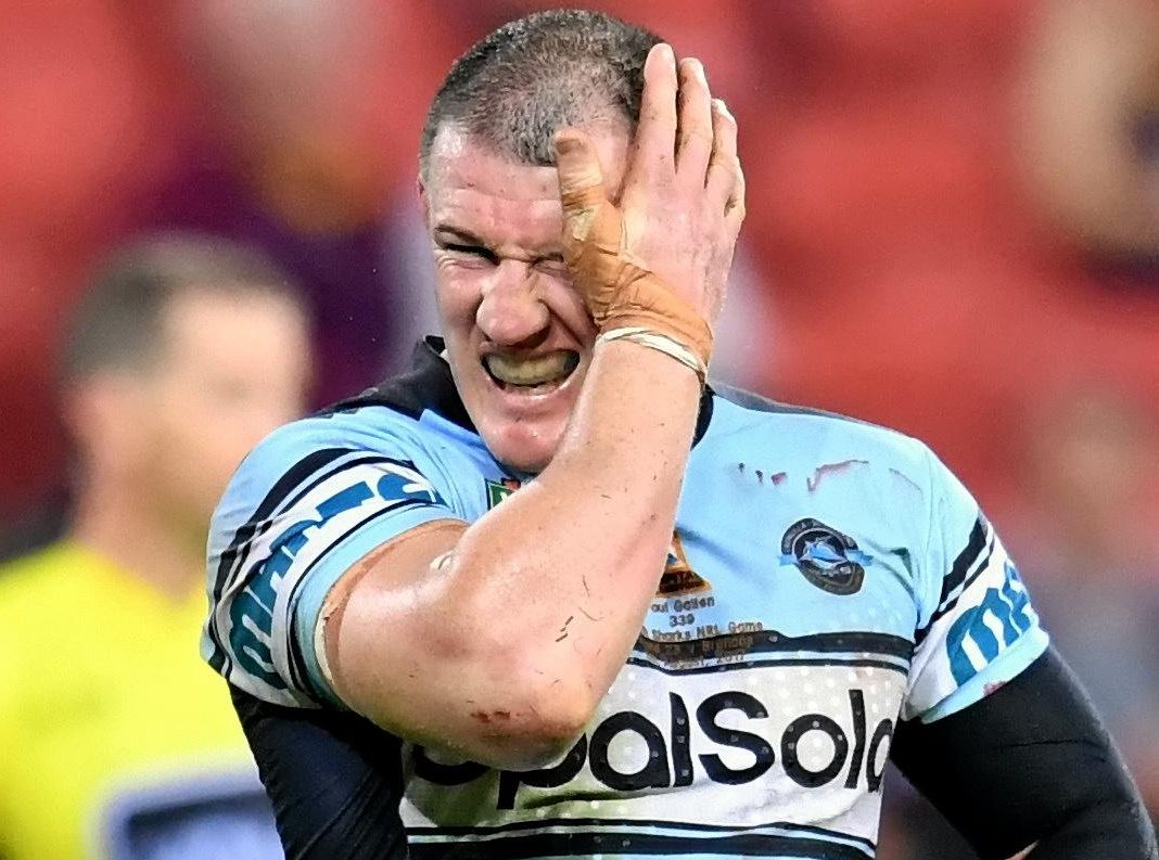 Paul Gallen of the Sharks reacts at fulltime after losing in his 300th NRL game, against the Broncos.