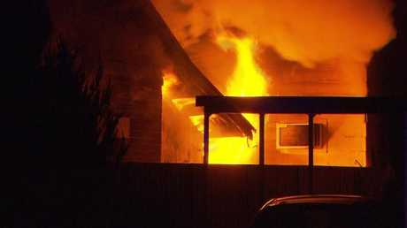The house alight at the height of the fire at Netherby. Picture: Nine NewsSource:Channel 9