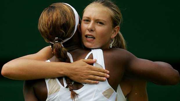 Maria Sharapova hugs Serena Williams after the Wimbledon final in 2004.