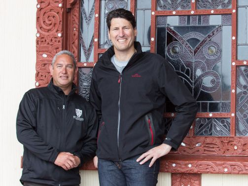 Inia Maxwell and John Eales in a scene from the documentary John Eales Reveals: The Haka.