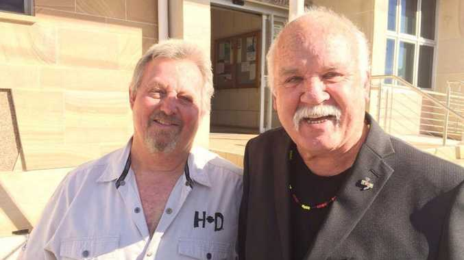 Philip Hunt with friend Roger Saunders in black.