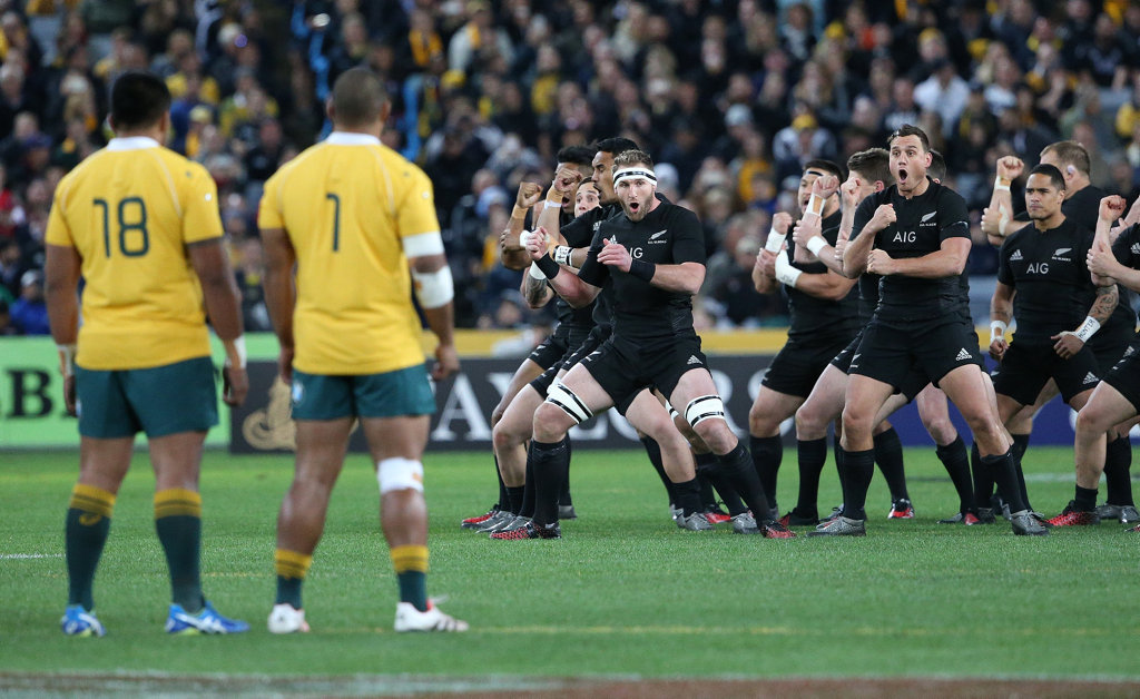 The New Zealand All Blacks perform their haka before their Bledisloe Cup rugby union match against Australia at the ANZ Stadium in Sydney, Saturday, August 20, 2016.
