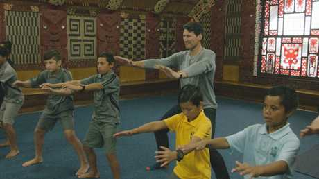 John Eales learns a haka in a scene from John Eales Reveals: The Haka.