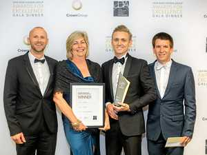 AWARDED: North Byron Beach Resort Construction Manager Darren Jarvis, owner Peggy Flannery, Development Director Jeremy Holmes and Project Manager Abel.