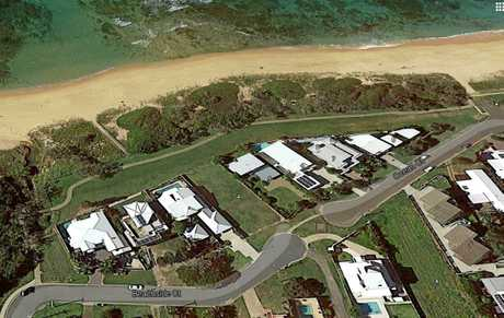 A Google Earth aerial view of the Shelly Beach sand dunes, filled with trees.