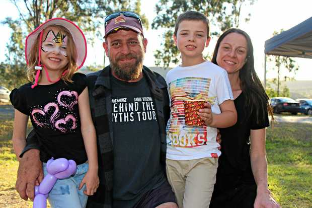 Sienna, 6, Kelby, Izac, 8, and Claire Miller all got well into the festival spirit of the Mount Sylvia State School's inaugural Up The Creek festival.