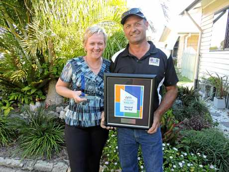 Mandy and Steve Thomsen of Thomsens Builders accepted the House of the Year award and the Individual Homes $651,000-750,000 award at the Wide Bay Burnett Housing and Construction Awards.