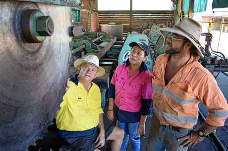 MILL REBORN: (left to right) Owners Ben Hall Jr and Edith Hall with mill operator Ben Hall Jr at the Brooweena Sawmill.