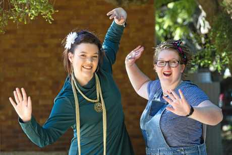 BUDDING TALENT: Preparing for Harristown State High School's musical are Hannah Budde (left) and Abi Haydon who are part of the cast of Popstars - The 90s Musical.
