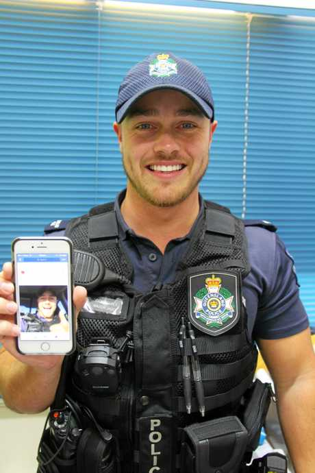 GONE VIRAL: Constable Mason Jago's selfie did the rounds on social media on Tuesday, gathering thousands of likes and a few raunchy comments.