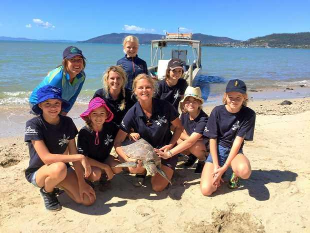 LETTING GO: Another successful turtle release by Jhala Thompson, Georgie Amos, Annabelle Head, Fiona Broadbent, Billie Edge, Libby Edge, Makrika Mackenzie, Charlotte Brown, Teah Goodall of Eco Barge Clean Seas.