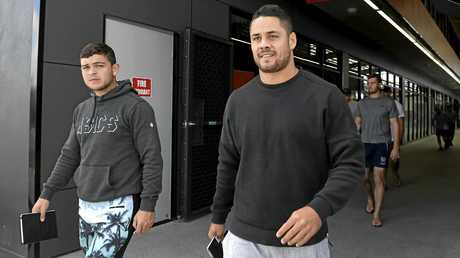 Jarryd Hayne (right) and Ashley Taylor (left) at Titans Headquarters at Parkwood on the Gold Coast on Monday.
