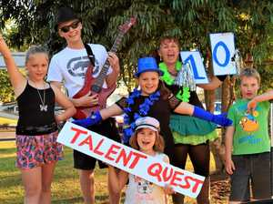 KYOGLES'S GOT TALENT: Pictured holding the number ten is organiser Sandy Szoko, with some of the entrants already signed up for the talent show at the Kyogle Bazaar on August 27.
