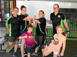 B2B READY: Brian Drever, Morgan Drever, Sarah Bowden and Andy Peever with Declan Bowden, 7, and Ciarra Bowden, 8. All six will run in the 2017 Botanic to Bridge on Sunday.