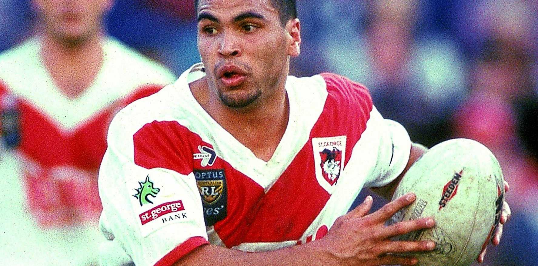 Anthony Mundine playing for the Dragons in 1996.