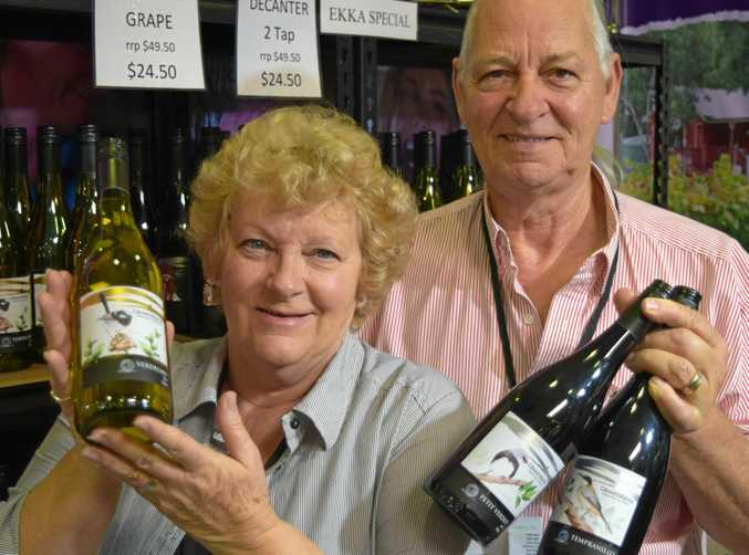 Dennis and Juliane Ferguson with Granite Ridge's Ekka special Strange Bird wine labels.
