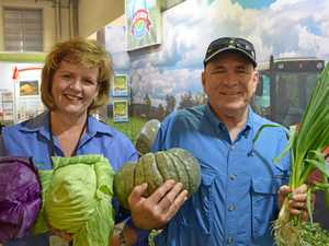 Tracy Vellacott and John Friswell at the Ekka calling on people to holiday in the Lockyer Valley.