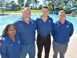 Camille Ahwang (left), Warren McGraw, Rebecca Meaney and Andrew Brooks of Mackay's Global Product Search at the Bluewater Lagoon yesterday. The company is diversifying from its core labour hire business to operate the lagoon.