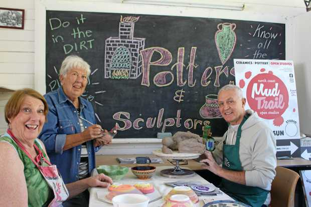CRAFTS GALORE: Tweed Unlimited Art members Deb Fraser, Joan Taylor and Bill Thompson are getting ready for the Mud Trail.