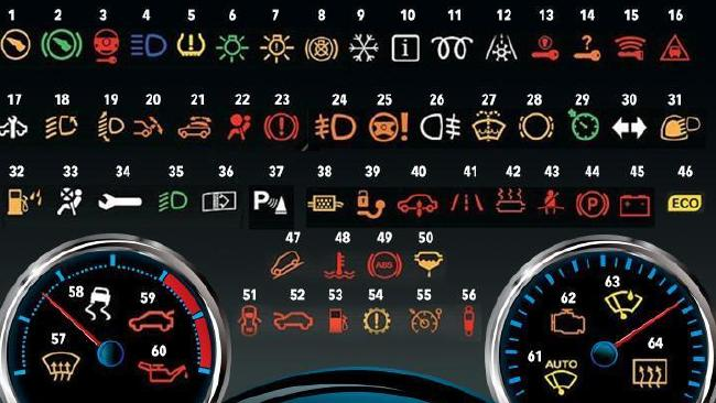 The 64 dash symbols telling you the car's broken