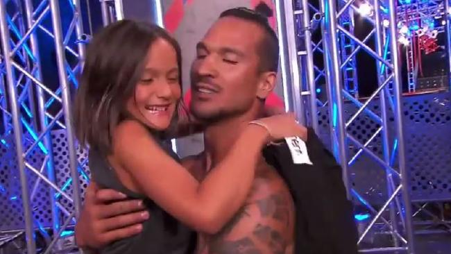 Johann Ofner with his daughter Kyarna on Ninja Warrior