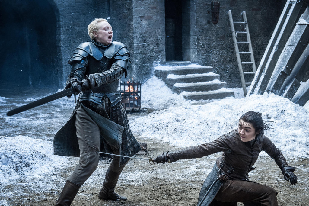 Gwendoline Christie and Maisie Williams in a scene from season 7 of Game of Thrones.