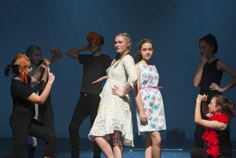 ON STAGE: Highfields State Secondary College students performing at dress rehearsal are (from left) Lucca Coutts, Kristy Cameron-Davies, Thomas Phillips, Sophie Volp, Chelsea Sibley, Lauren Thornton and Chloe Burton.