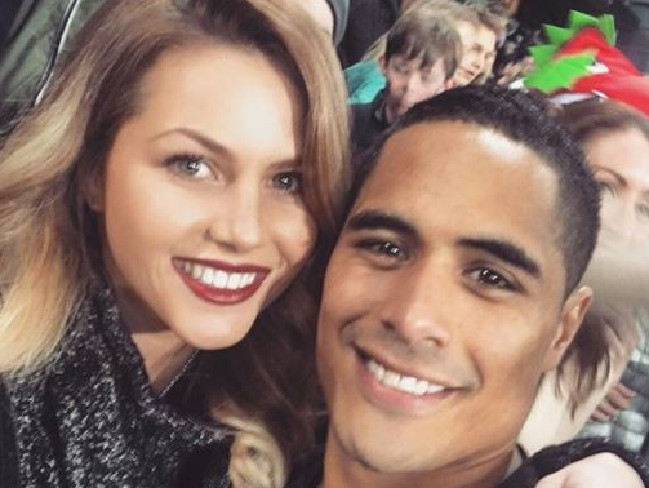 Teagen Voykovich and All Black Aaron Smith Source:Supplied