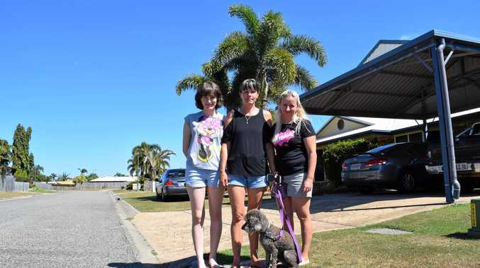 CRUEL ACT: Residents of Anita Drive Andergrove, Tylah Standen, Christine Standen and Stacy Sinn, have had their homes and dogs targeted by criminals.