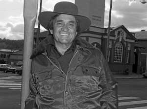 LEGENDARY J.R: Johnny Cash walked the line of Maryland St in August of 1982 when he and his wife, June, visited the Granite Belt.