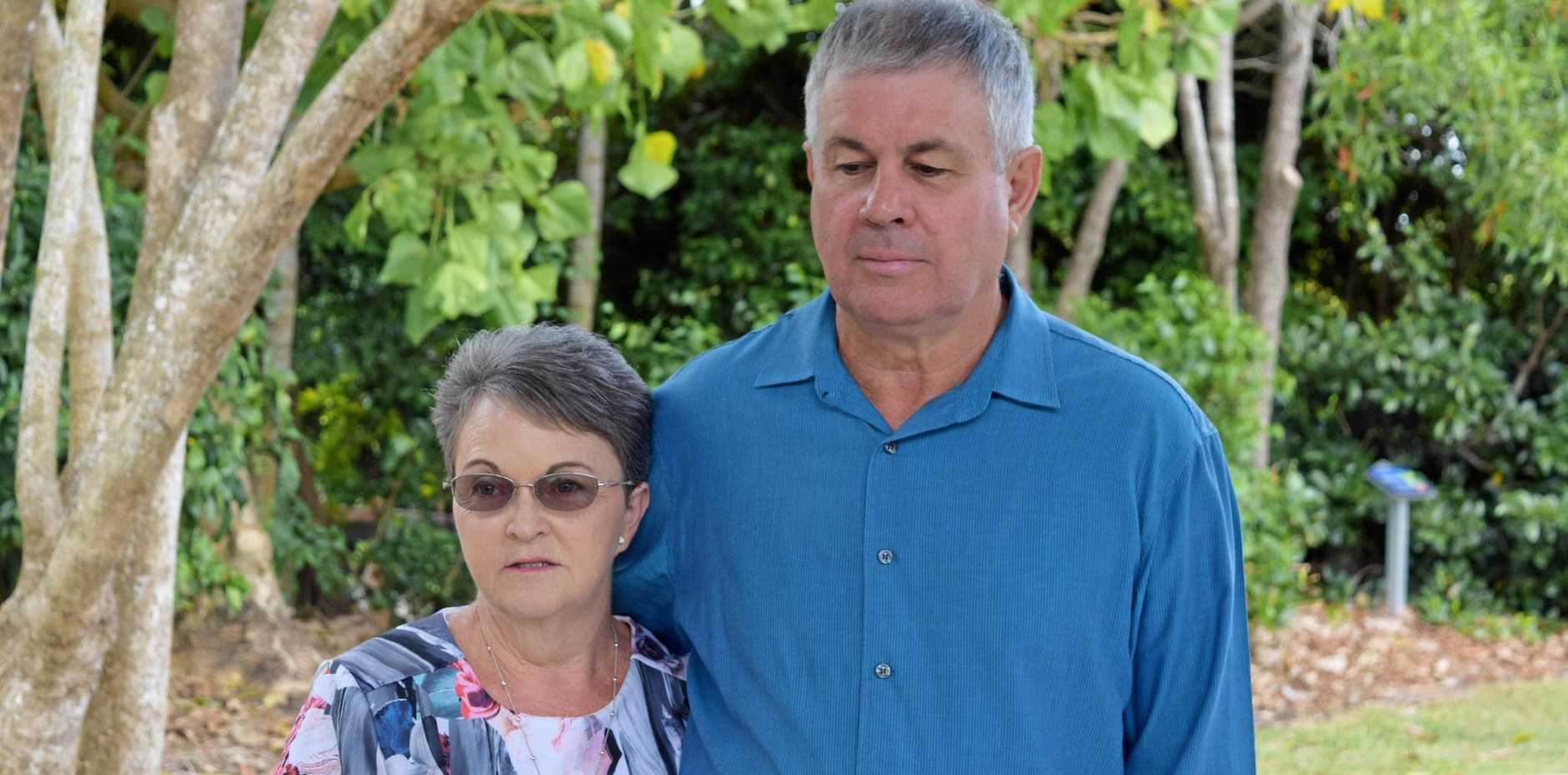 Leanne and Gary Pullen speaking out in Mackay yesterday about finding out a man who was involved in their son's death had his parole date approved.