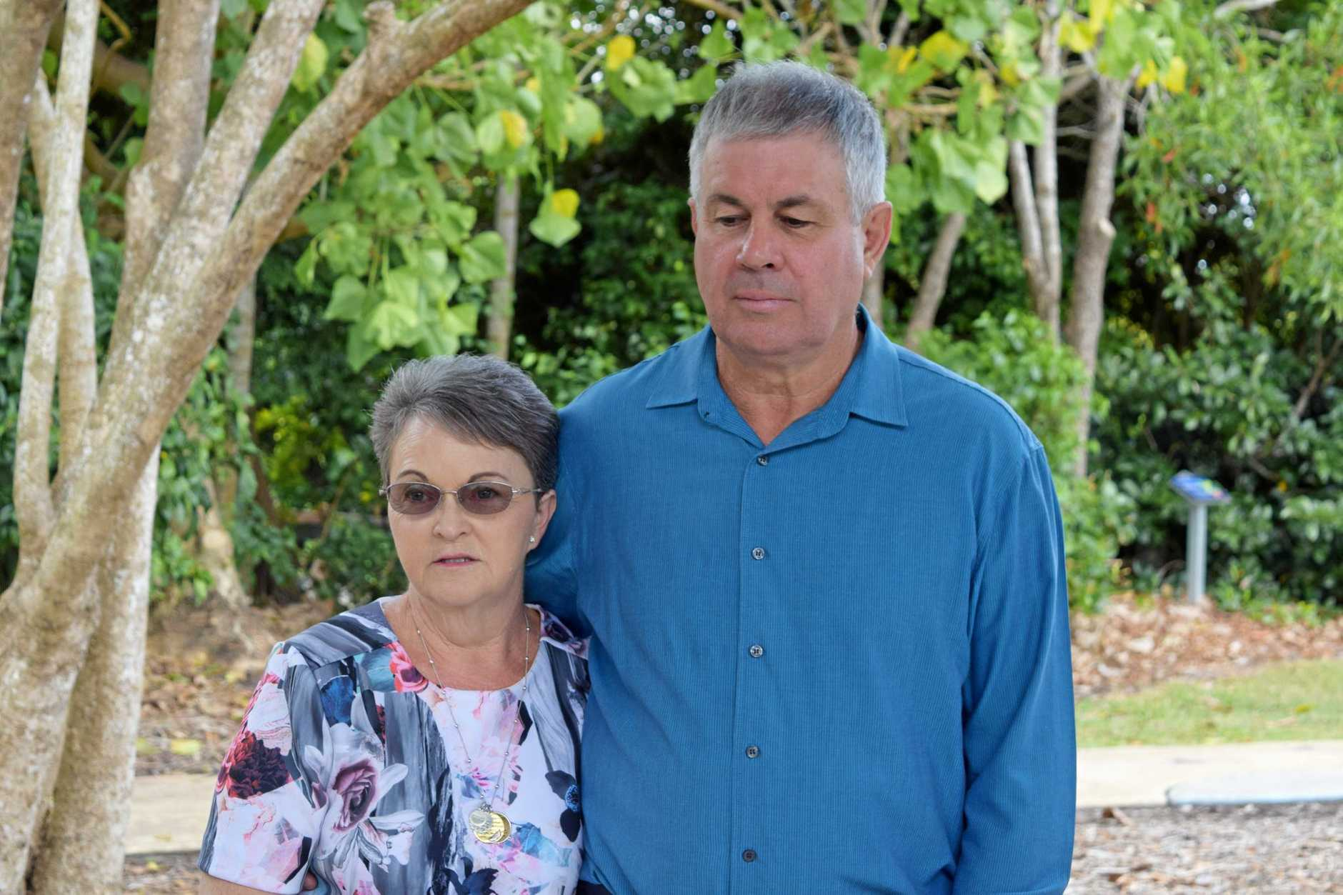 Leanne and Gary Pullen spoke at the Botanic Gardens this morning after finding out a man who was involved in their sons death had his parole date approved.