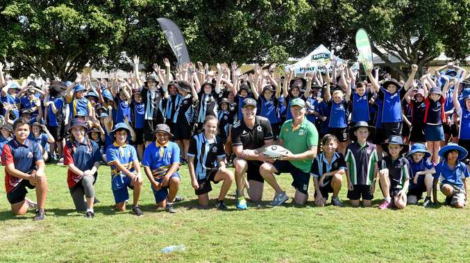 GAME TIME: Kawungan State Primary School was one of the four locations chosen, for a Macquarie Sports rugby league clinic, with Steve Menzies.
