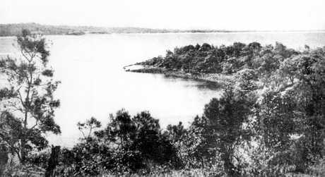 - The Headland at Point Cartwright looking across the Mooloolah River bar towards Maroochydore, ca 1930.