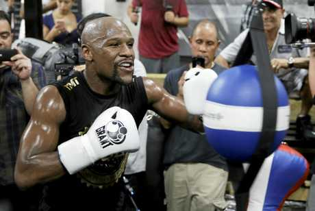 Floyd Mayweather Jnr trains at his gym in Las Vegas last week.