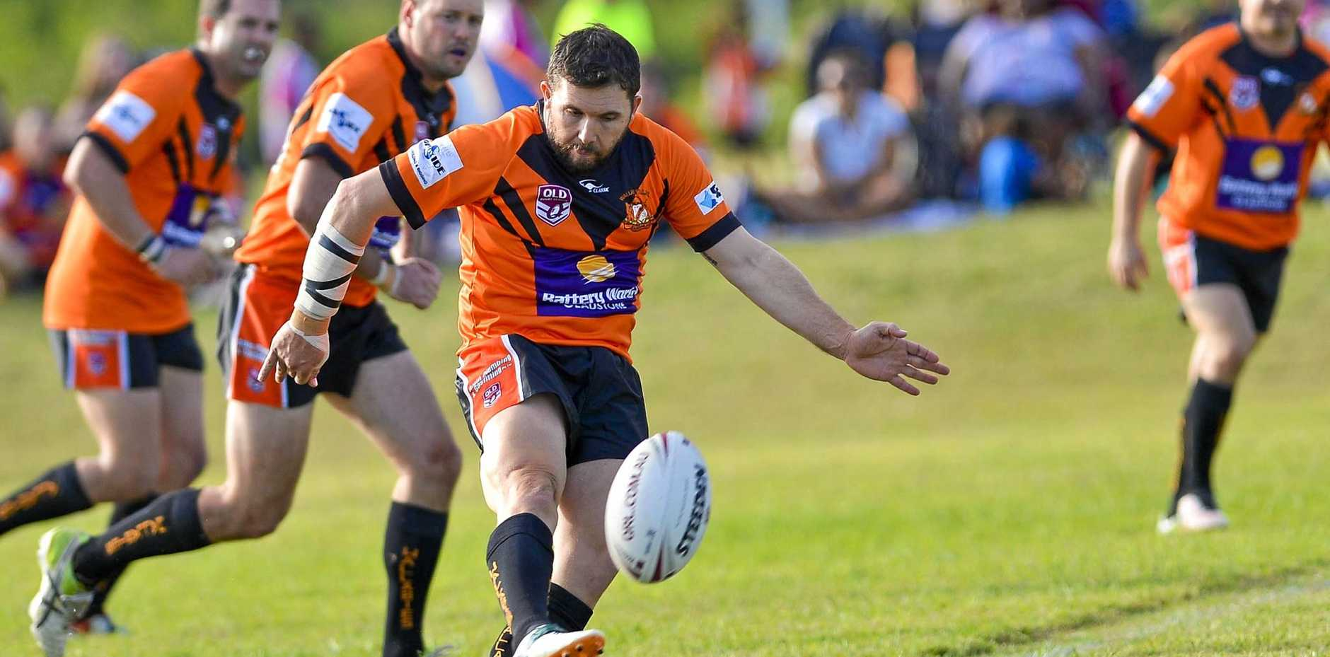 MISSING IN ACTION: Injured Wallabys five-eighth Matt Baker is backing his boys to get the job done in tomorrow afternoon's preliminary final against Norths Chargers at Browne Park.