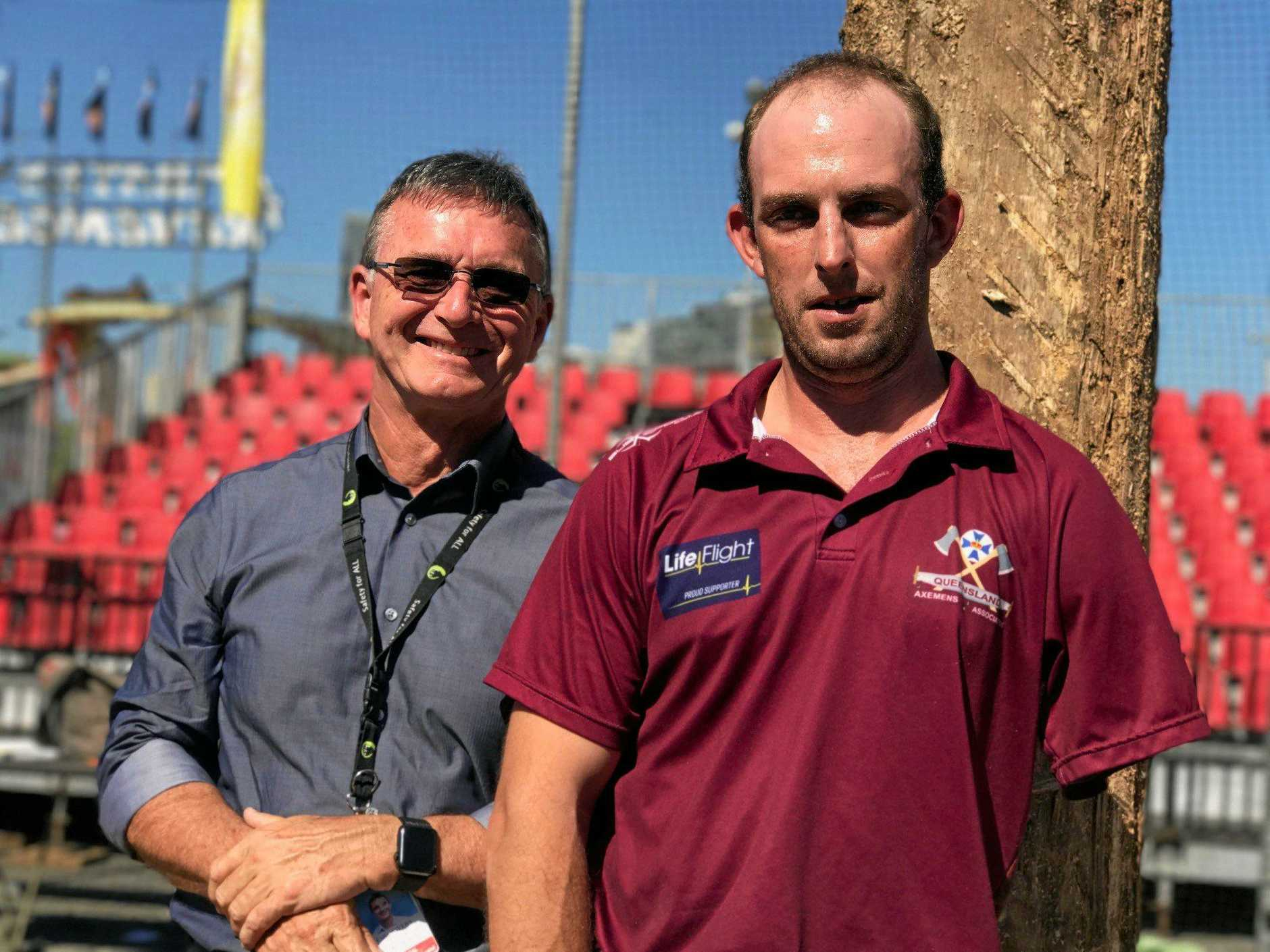Dr Colin Myers with former patient, woodchopper and Kilcoy local Nick Fredriksen.