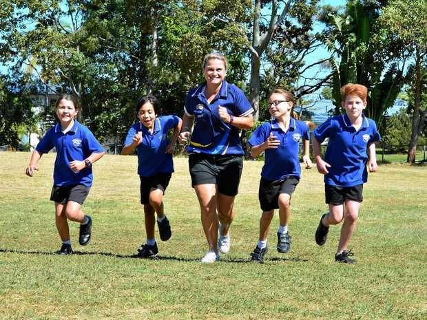 CHALLENGE: Emily Preston, Monte Brown, Angela Hoppe, Eva Nicol-Rann and Izacc Budd-Stinton of Mooloolaba State School are ready for the marathon this weekend.