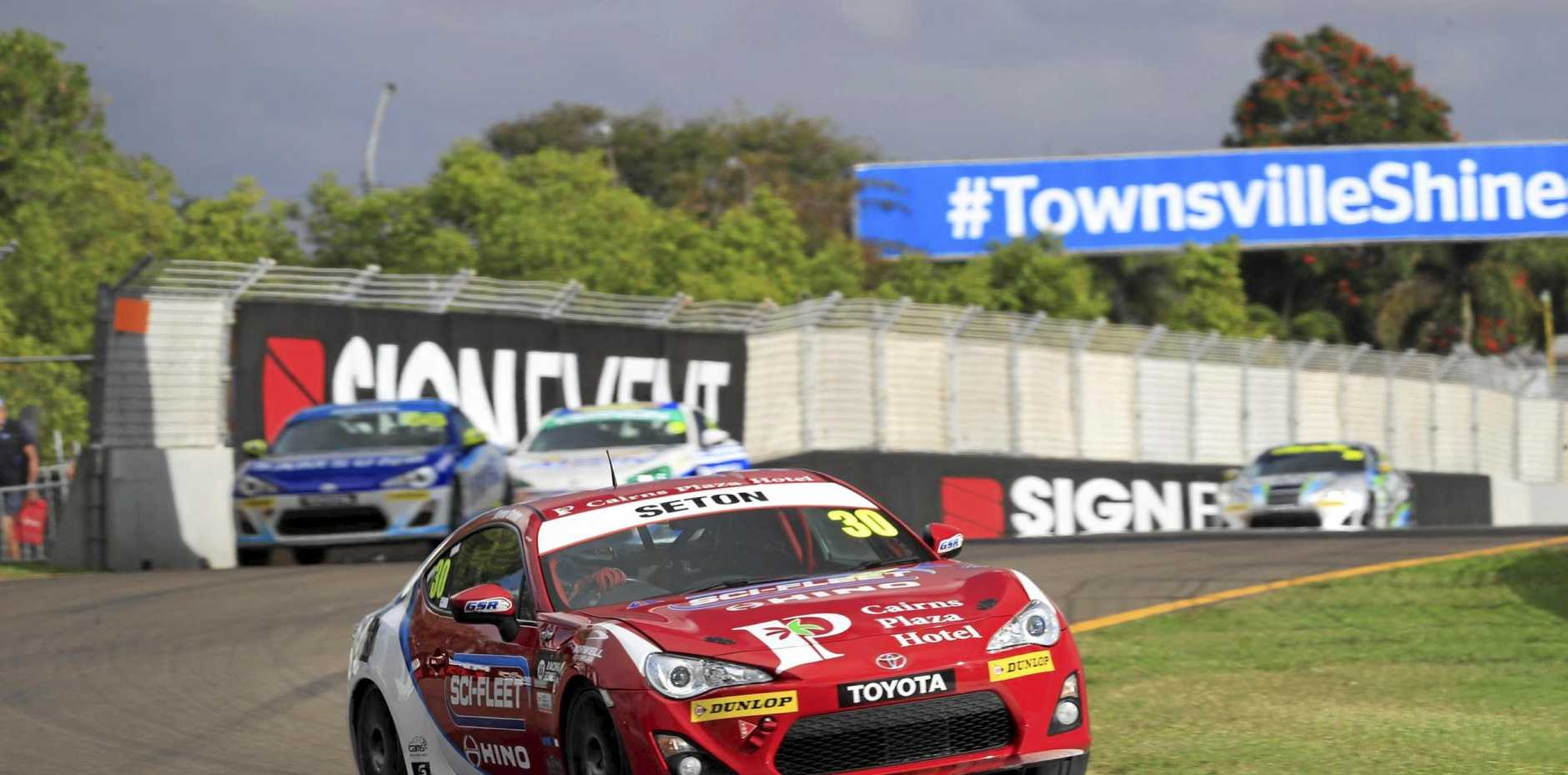 NEED FOR SPEED: Aaron Seton getting some air in the Toyota 86 series in Townsville.