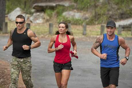From left, Commando Steve, Michelle Bridges and Shannan Ponton on the set of The Biggest Loser