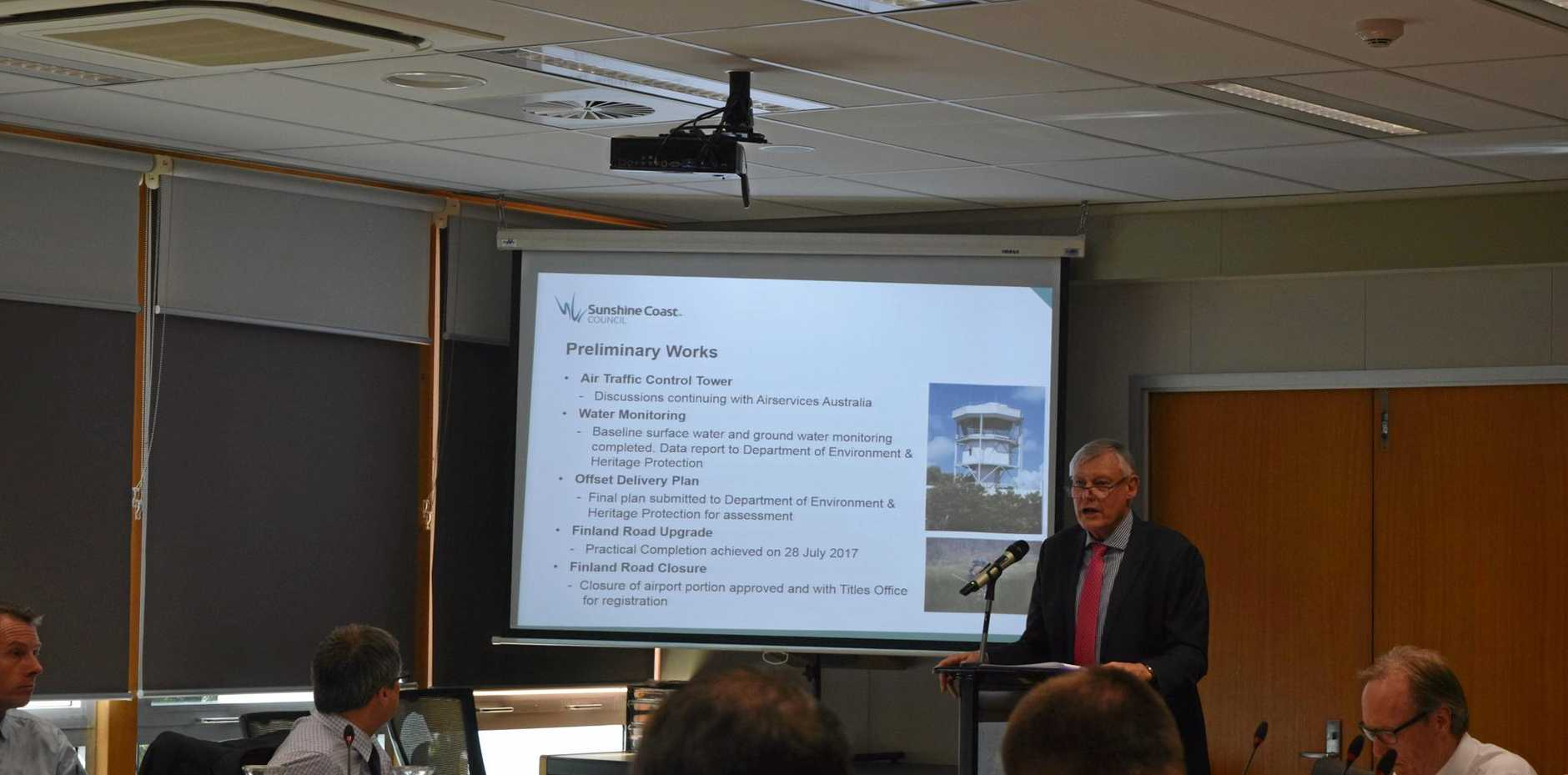 Sunshine Coast Airport expansion project manager Ross Ullman delivers a progress report to Sunshine Coast Council's August meeting.