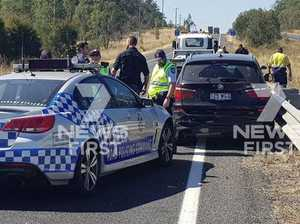 Police have arrested three people after a pursuit on the Warrego Hwy in the Lockyer Valley.