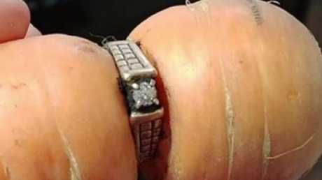 The engagement ring was found on a carrot in Grams' old garden.Source:Supplied