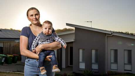 Valarie Kargar and her son Patrick. The family built their home with Q1 Homes, which is now in liquidation. Picture: Jerad Williams