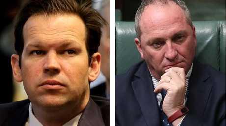 Senator Matt Canavan, left, says his mum applied for Italian citizenship on his behalf and right, Deputy PM Barnaby Joyce is a NZ citizen.