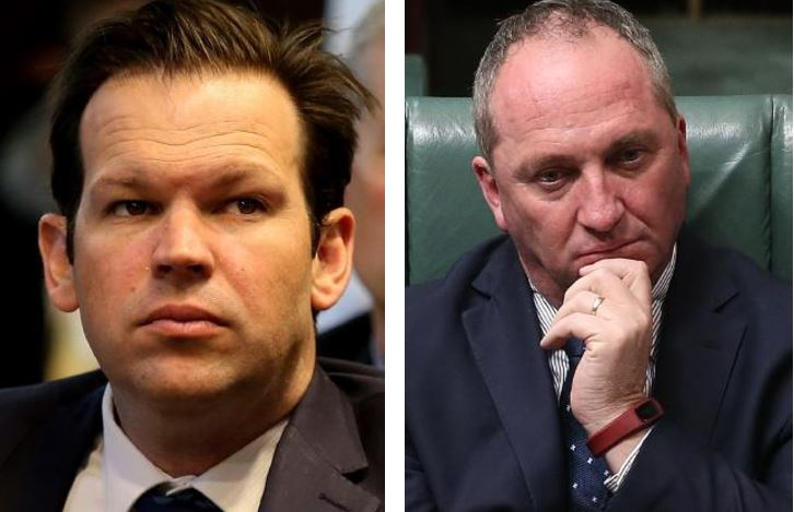 Senator Matt Canavan, left, says his mum applied for Italian citizenship on his behalf and right, Deputy PM Barnaby Joyce is a NZ citizen.